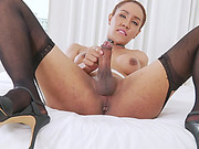 Big tits shemale Milk A masturbates her fat hard cock