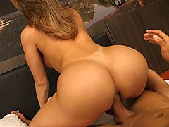 Big round ass latina tranny gets bareback ass fucked