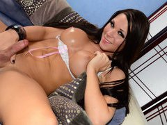 Sexy brunette shemale Ashley George gets her ass fucked