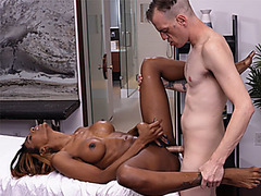 Black shemale fucked by a massage client after she fucks him
