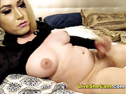 Cute blonde transgirl cumshot cam show