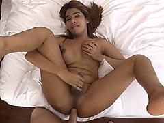 Ladyboy with perfect tits and nasty smile POV handjob