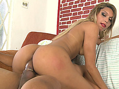 Busty shemale gets her asshole pumped in many positions