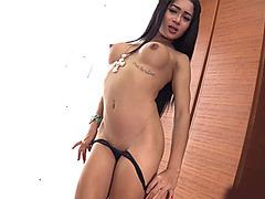 Teen ladyboy from Bangkok blowjob and anal dick ride