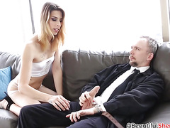 Tight ass shemale with small boobs gets ass penetration