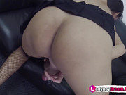 Thai Shemale Anna in stockings and heels playing with her cock - LadyboyDream.Tube