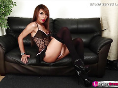 Ladyboy Miky strips off her sexy black lingerie - LadyboyDream.Tube