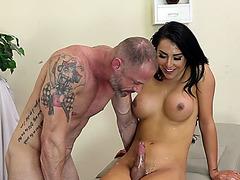 Mature dude Arclyte sucks cock and fingers big tits shemale Chanel Santini