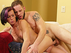 Shemale babe River gets an anal fuck with a hunk dude