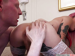 Hot shemale with small tits Lena gets raw bareback at home