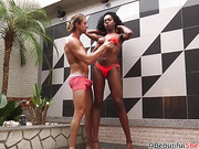 Brazilian shemale with big tits gets bareback doggystyle sex