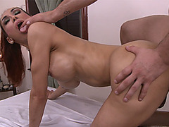 Redhead shemale anal fucked by a massage guys hard dick