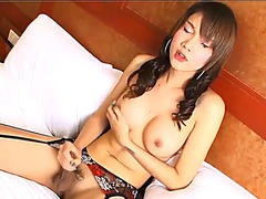 Sexy asian ladyboy in lingerie masturbating POV style