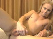 Blonde tgirl cums on leg