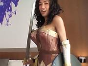Ladyboy in a Wonder Woman costume gets barebacked hard