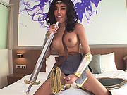 Hot big boobs ladyboy bent over on the bed to fuck ass