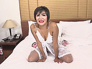 Sexy ladyboy in white lingerie banged in her tight ass