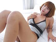 Busty asian shemale Ya masturbates cock until she cums