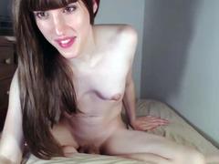 Beauty brunette tgirl playing online