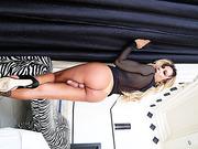 Natural tits transgirl Bianca Hills and stud Spencer missionary sex