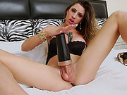 Gorgeous TS Stefany fucking her cock with a fleshlight