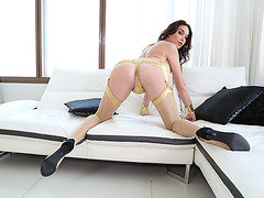 Busty Ts Jonelle Brook and stud Kais hard anal sex
