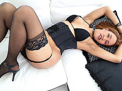 Asian transbabe Milk gets screwed by stud Kai Bailey