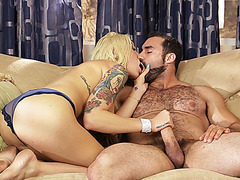 Stunning TS beauty Aubrey charms hunky guy to have anal sex