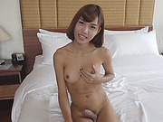 Slim ladyboy and nasty man anal fucking bareback in bed