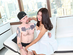 Cute Transbabe Sky enjoy riding Kais huge cock from behind