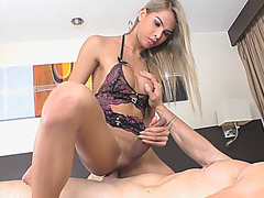 Big boobs shemale asshole pounded bareback on the bed