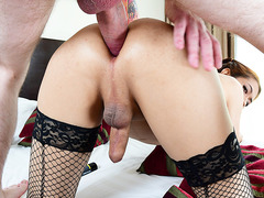 Busty Asian transgirl gets hard anal pounding