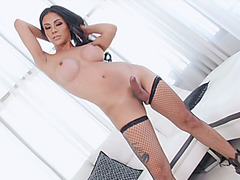 Lusty big boobs tranny masturbates her fat cock on sofa