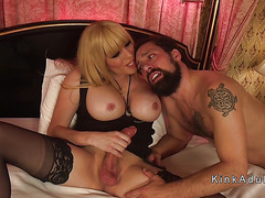 Huge tits tranny in lingerie anal
