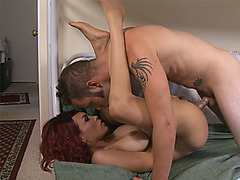 Redhead busty shemale got fucked after a kiss with him
