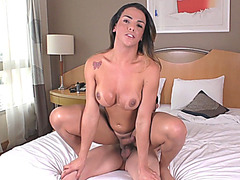 Busty tgirl and nasty man enjoy fucking ass on the bed