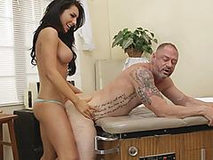 Huge boobies shemale Chanel Santini fucks pervert dude