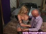 Shemale in lingerie sucking on dick for this lucky guy