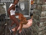 Sexy 3D cartoon ebony shemale getting double teamed