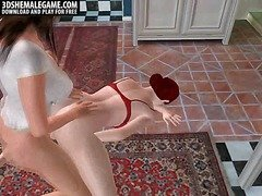 Sexy 3D cartoon shemale hottie getting fucked anally