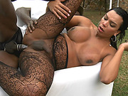 Hot tgirl in shear pantyhose anal banged in the garden