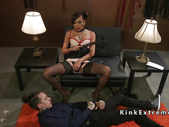 Shemale mistress in latex anal fucks male sub
