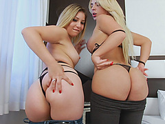 Latina shemale and pretty babe shared stud on the bed