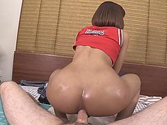 Short haired ladyboy gets her ass rammed