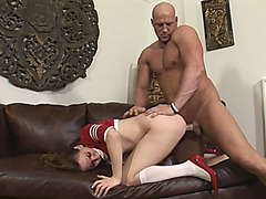 Cheerleader shemale gets her ass banged