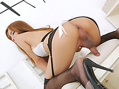 Hot ladyboy shows off ass and jerks off