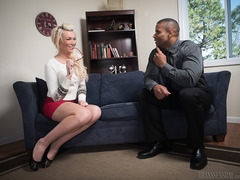 Lovely shemale Aubrey Kate gives a hunk dude Robert Axel a blowjob