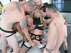 Transgirl Aubrey Kate swallows studs hard cocks