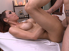 Sexy busty shemale anal fucked after a full body massage