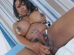 Ebony BBW Tgirl Enjoys Stroking Her Big Cock
